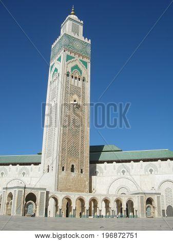 Minaret of Hassan II mosque in Casablanca, Morocco