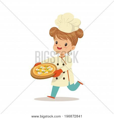 Cute little girl running with a freshly cooked pizza vector Illustration isolated on a white background