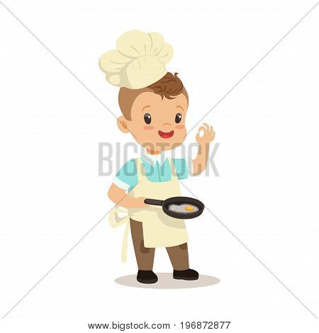 Cute little boy chef frying egg in a flying pan vector Illustration isolated on a white background