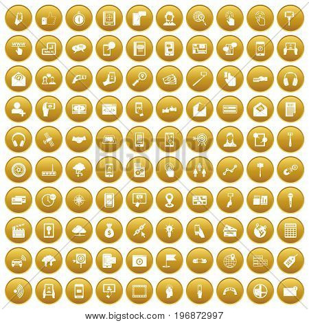 100 mobile icons set in gold circle isolated on white vector illustration