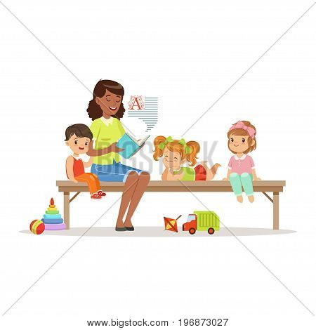 Teacher reading a book to kids while sitting on a bench, children enjoy listening, kids education and upbringing in preschool or kindergarten, colorful characters vector Illustration