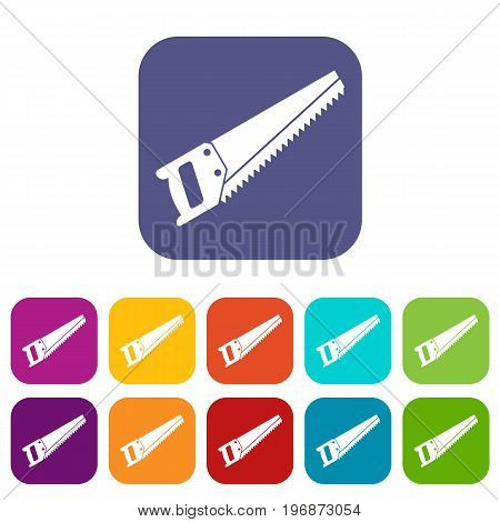 Saw icons set vector illustration in flat style in colors red, blue, green, and other