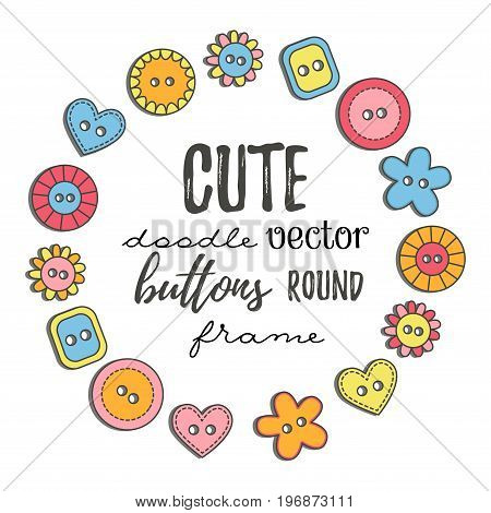 Doodle colorful buttons cute round decorative frame