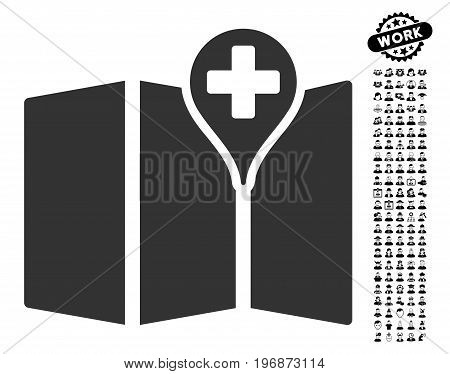 Medical Map icon with black bonus men design elements. Medical Map vector illustration style is a flat gray iconic element for web design, app user interfaces.