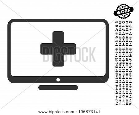Medical Monitor icon with black bonus profession graphic icons. Medical Monitor vector illustration style is a flat gray iconic element for web design, app user interfaces.