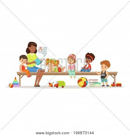 Teacher reading a book to kids while sitting on a bench, childrens education and upbringing in preschool or kindergarten, colorful characters vector Illustration