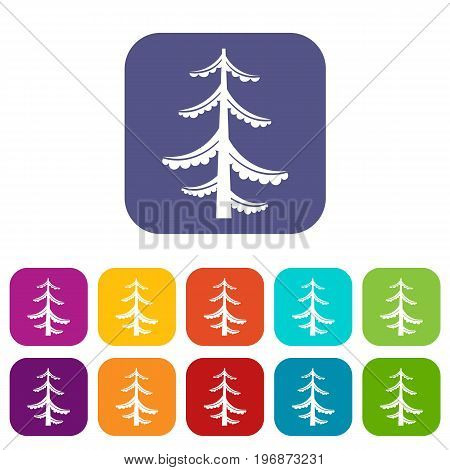 Pine icons set vector illustration in flat style in colors red, blue, green, and other