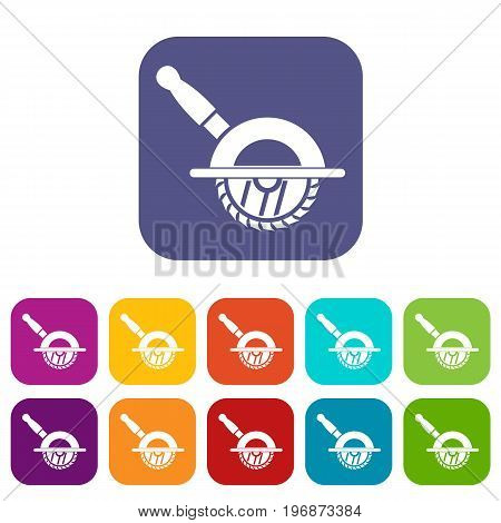 Circular saw icons set vector illustration in flat style in colors red, blue, green, and other