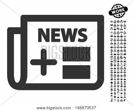 Medical Newspaper icon with black bonus men pictograms. Medical Newspaper vector illustration style is a flat gray iconic element for web design, app user interfaces.