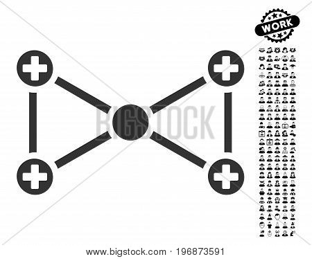 Medical Nodes icon with black bonus profession design elements. Medical Nodes vector illustration style is a flat gray iconic element for web design, app user interfaces.