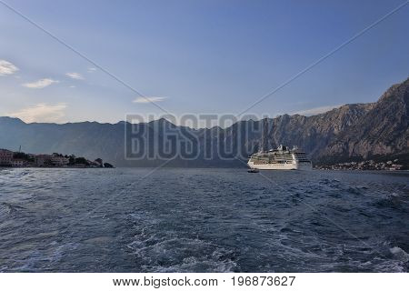 The Cruise Liner Leaves The Bay Of Kotor