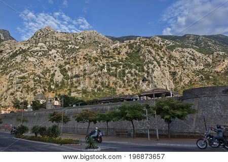 Street Near The Fortress Wall Of The Old Town Of Kotor