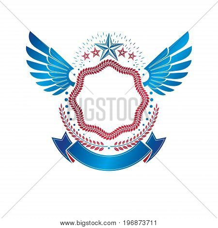 Graphic winged emblem created using pentagonal star and empty copy-space. Heraldic Coat of Arms vintage vector logo.