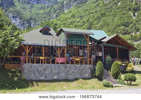 CANYON TARA MONTENEGRO - JUNE 29 2017: Izlet Restaurant in the Tara River canyon area. There are always stop to have lunch tourist groups