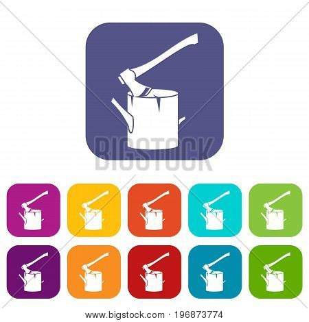 Axe stuck in a tree stump icons set vector illustration in flat style in colors red, blue, green, and other