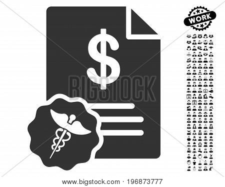 Medical Prices icon with black bonus men design elements. Medical Prices vector illustration style is a flat gray iconic element for web design, app user interfaces.
