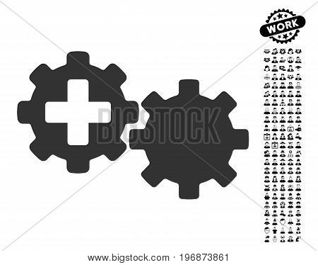 Medical Process Gears icon with black bonus men clip art. Medical Process Gears vector illustration style is a flat gray iconic element for web design, app user interfaces.