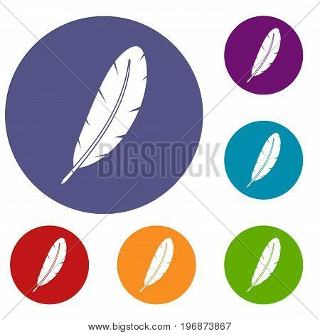 Feather pen icons set in flat circle red, blue and green color for web