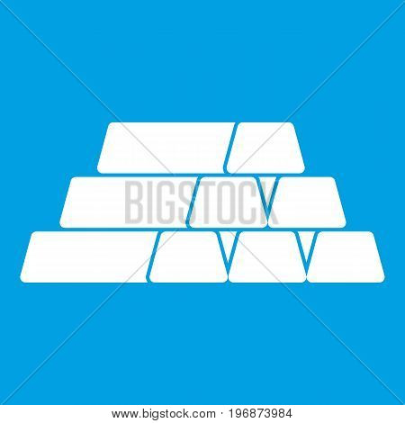 Gold bar icon white isolated on blue background vector illustration