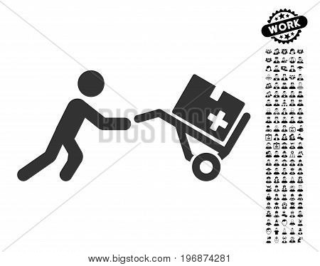 Medical Shopping Cart icon with black bonus men icon set. Medical Shopping Cart vector illustration style is a flat gray iconic symbol for web design, app user interfaces.