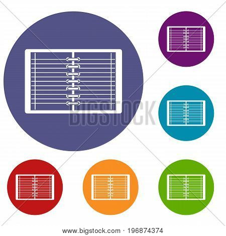 Open spiral lined notebook icons set in flat circle red, blue and green color for web