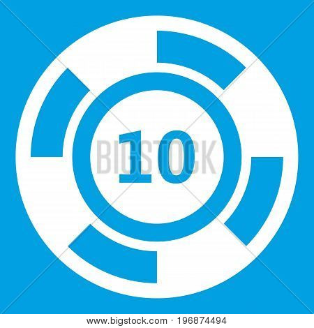 Casino chip icon white isolated on blue background vector illustration