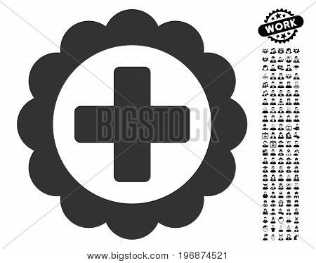 Medical Sticker icon with black bonus people pictograph collection. Medical Sticker vector illustration style is a flat gray iconic element for web design, app user interfaces.