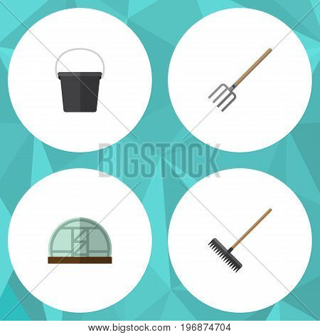 Flat Icon Dacha Set Of Hay Fork, Harrow, Hothouse And Other Vector Objects