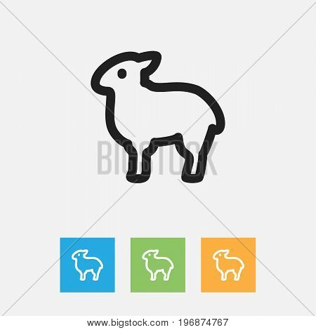 Vector Illustration Of Zoo Symbol On Sheep Outline