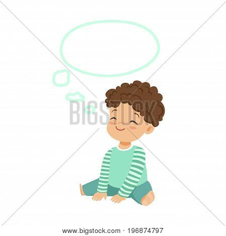 Adorable little boy dreaming with a thought bubble, kids imagination and fantasy, colorful character vector Illustration isolated on a white background