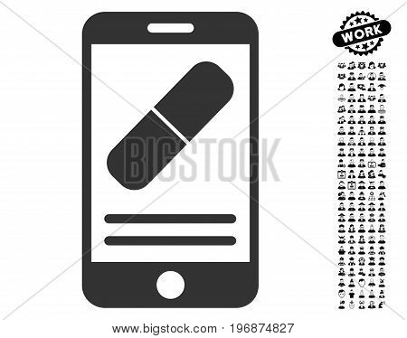 Medication Online Information vector illustration style is a flat gray iconic symbol for web design, app user interfaces.