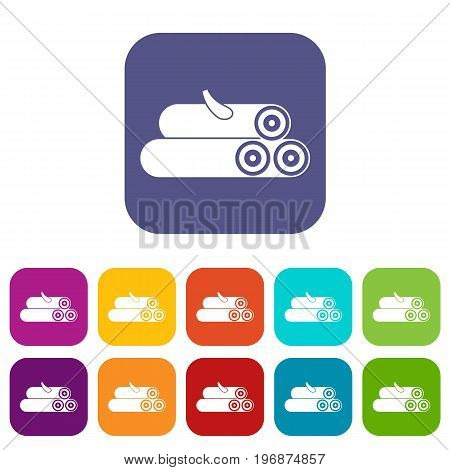 Wooden logs icons set vector illustration in flat style in colors red, blue, green, and other