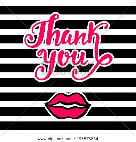 Thank You bright card in retro 80s, 90s pop art style, with pink lips kiss. Handwritten lettering. Modern brush calligraphy. Typography design for invitations, posters, postcards. Vector illustration.