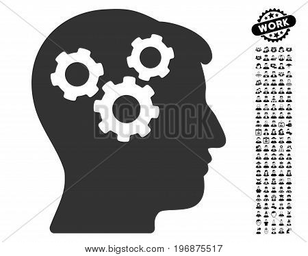 Mind Gears icon with black bonus job icon set. Mind Gears vector illustration style is a flat gray iconic element for web design, app user interfaces.