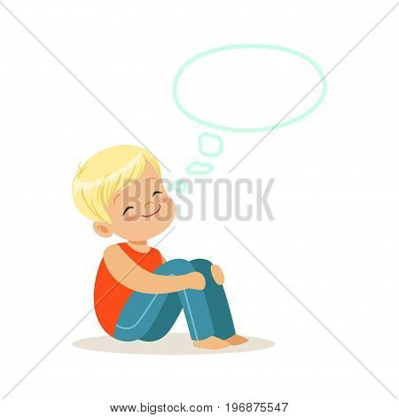 Happy blonde little boy dreaming with a thought bubble, kids imagination and fantasy, colorful character vector Illustration isolated on a white background