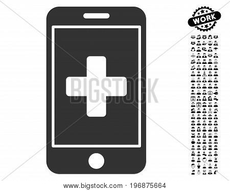 Mobile Medicine icon with black bonus men icon set. Mobile Medicine vector illustration style is a flat gray iconic symbol for web design, app user interfaces.