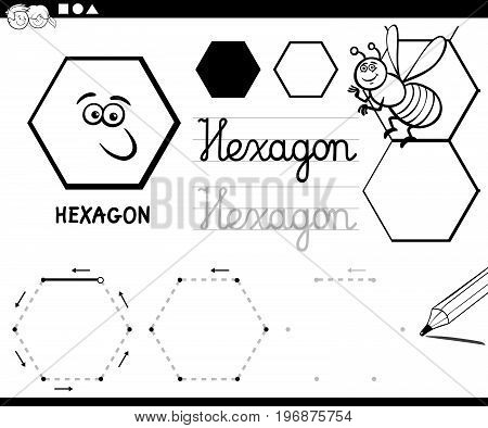 Hexagon Basic Geometric Shapes Coloring Page