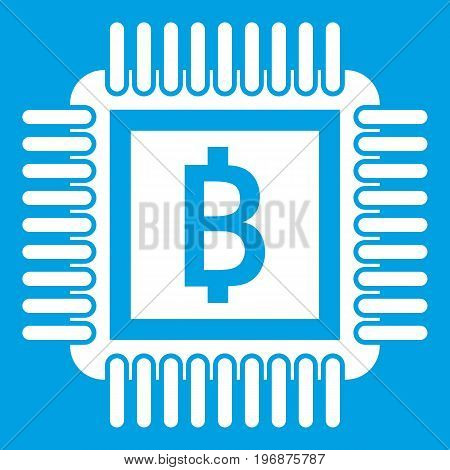 Chip icon white isolated on blue background vector illustration
