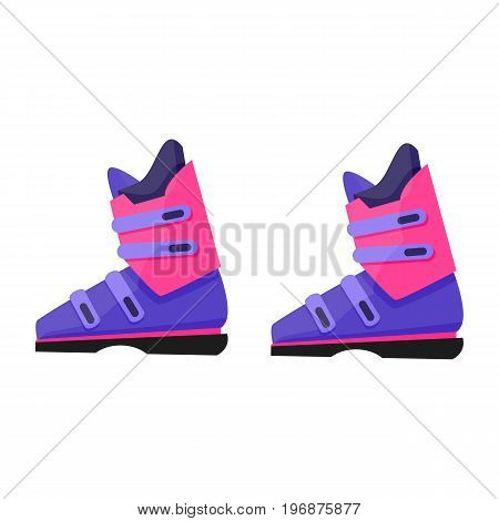 Pair of skiing, snowboarding boots, winter sport gear, flat style vector illustration isolated on white background. Flat vector skiing, snowboarding boots, colorful illustration