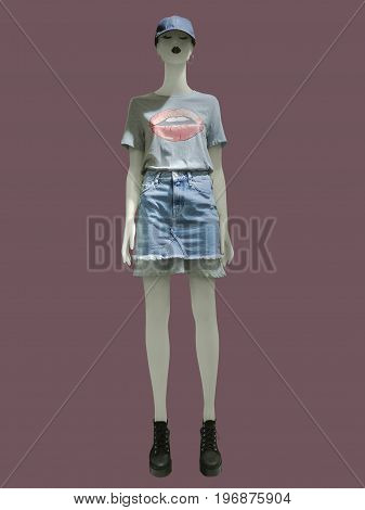 Full-length female mannequin dressed in fashionable clothes isolated. No release required. No brand names or copyright objects.