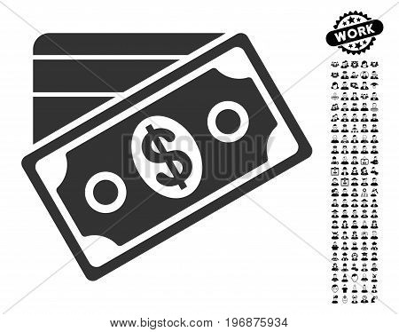 Money icon with black bonus job pictograph collection. Money vector illustration style is a flat gray iconic symbol for web design, app user interfaces.