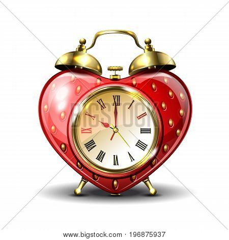 Metal retro style alarm clock in strawberry form on white background. Vector illustration.