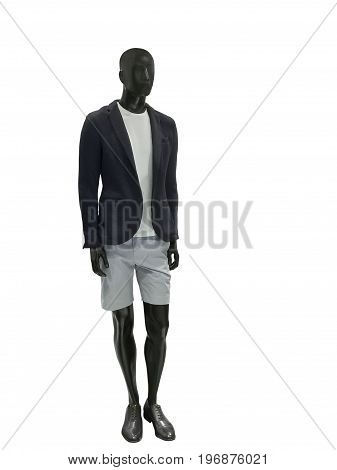 Full length male mannequin dressed in casual clothes isolated on white background. No brand names or copyright objects.