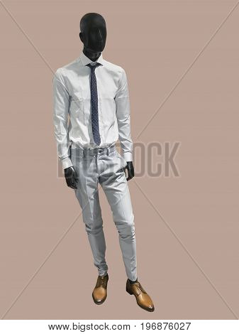 Full length male mannequin dressed in casual clothes isolated. No brand names or copyright objects.