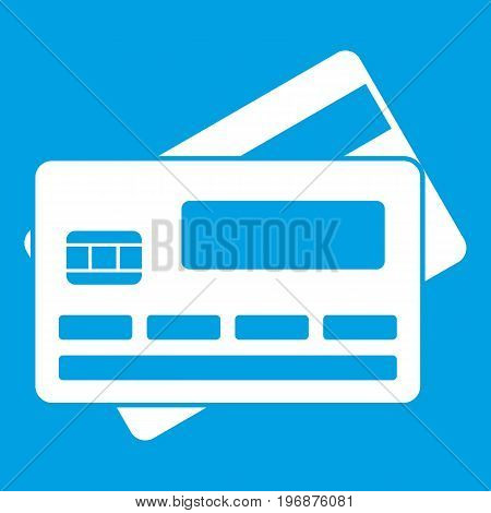 Credit card icon white isolated on blue background vector illustration