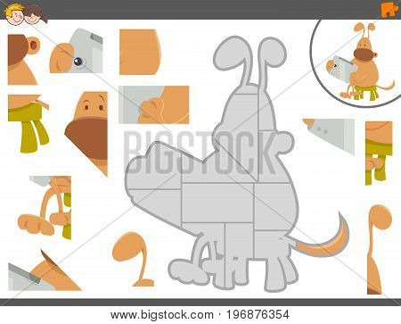 Jigsaw Puzzle Game With Dog And Tablet