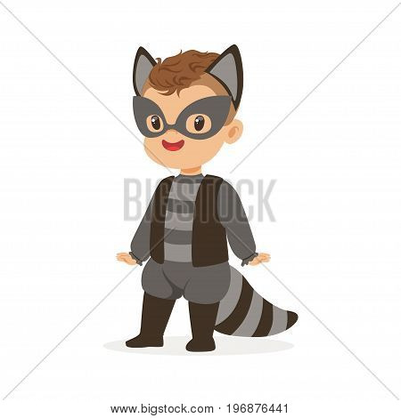 Cute happy boy dressed as a raccoon, kids carnival costume vector Illustration isolated on a white background