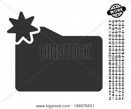 New Folder icon with black bonus professional design elements. New Folder vector illustration style is a flat gray iconic symbol for web design, app user interfaces.