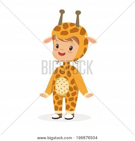 Cute happy boy dressed as a giraffe, kids carnival costume vector Illustration isolated on a white background