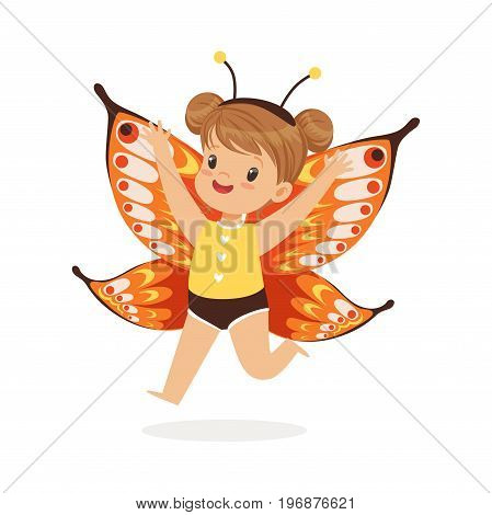 Cute happy little girl dressed as a butterfly, kids carnival costume vector Illustration isolated on a white background